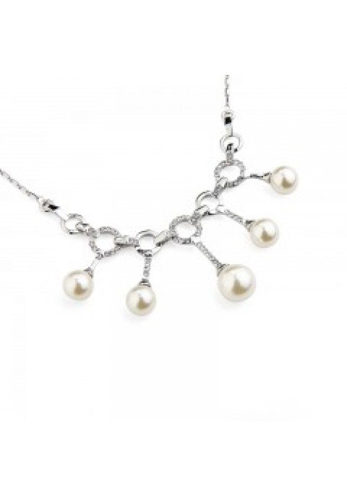 01SL 5 Pearl necklace and earring set