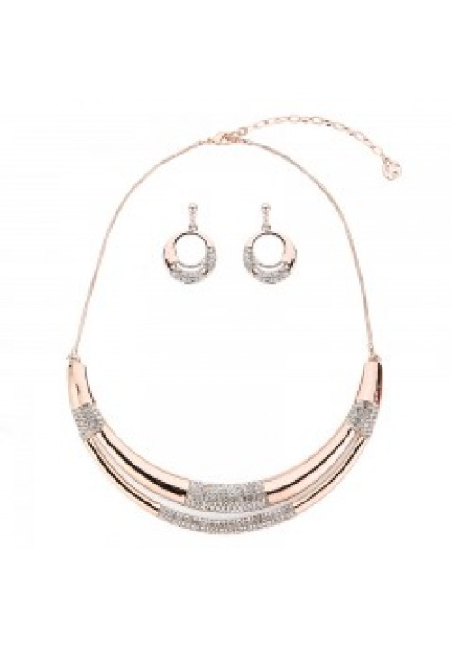 12RG Curved Necklace and earring set